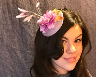 Painted Feathers/Lavernder and Orchid Fascinater/Feathered Fascinator/ Mini Lavender Hat/ Lavender Flowered Fascinator/ Feathers and Flowers