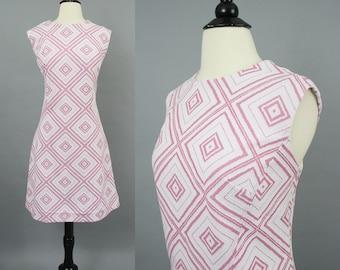 vintage 60s Mod Pink and White Geometric Shift Dress / 1960s Sleeveless Knit GoGo Tile Print Day Dress / XL XXL Volup