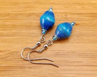 Paper Bead Earrings - Rwandan Paper Beads - Aqua Blue and Royal Blue Stripe - Cobalt - Turquoise - African