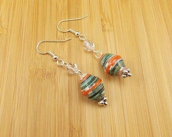 Paper Bead Earrings - Rwandan Paper Beads - Orange, Black, Dark Green and White with Clear Glass