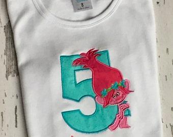 Personalized Birthday Number Trolls Shirt or Onesie