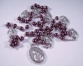 Burgundy Swarovski Glass Pearl Seven Sorrows (Dolors) of Mary Rosary