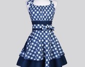 Flirty Chic Apron , Navy Blue and White Bias Gingham Two Layer Sexy Skirt Rockabilly Cute Sexy Retro Womens Apron