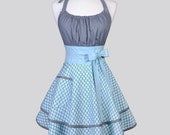 Flirty Chic Apron / Amy Butler Lotus Bloom Gray with Blue Polka Dots Double Layer Skirt Ruffled Womens Retro Hostess Kitchen Apron