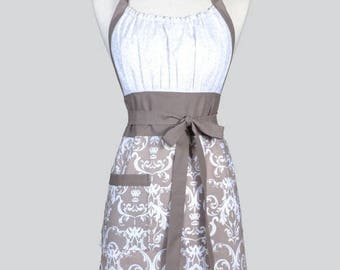SALE Cute Kitsch Womens Apron - Modern Taupe Gray and Ivory Damask Retro Vintage Style Kitchen Cooking Apron with Pockets