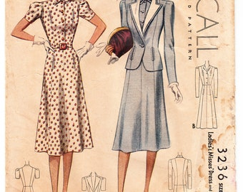 Vintage 1939 McCall 3236  Sewing Pattern Ladies' & Misses' Dress and Jacket Size 18 Bust 36