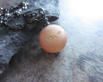 Druzy Agate Orb Necklace, Peachy Orange Druzy Pendant, Apricot, Flashy Gunmetal Necklace, Sacral Chakra Stone, Long Chain, Layering, Unisex