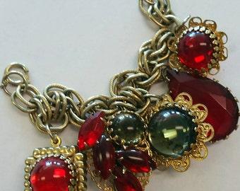 Vintage Chunky Red Rhinestone  Link Bracelet