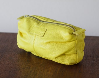 Yellow leather accessory bag, cosmetic case vanity storage makeup case utility bag zip pouch - Ariadne makeup bag