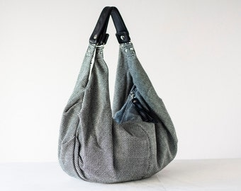 Shoulder hobo bag in checkered cotton and black leather, shoulder purse overnight bag oversized sling bag - Kallia bag