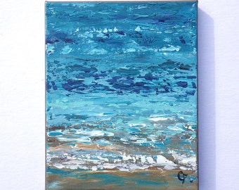 Abstract beach painting, shoreline in blue, turquoise, with beach foam, textured palette knife 8x10 painting