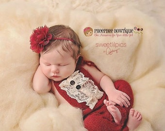 30% OFF SPRING SALE Red Flower Headband, Lace, Newborn Headband, Baby Headband, Infant Headband, Photo Props, Holiday, Baptisms, All Ages, B