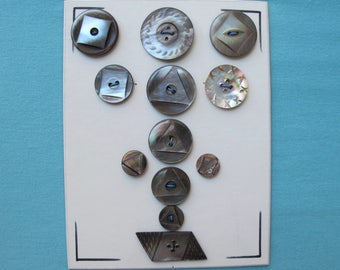 Collectors Card 12 Buttons Mother of Pearl Smoky Smoked Pearls Carved Gray Victorian c.1900