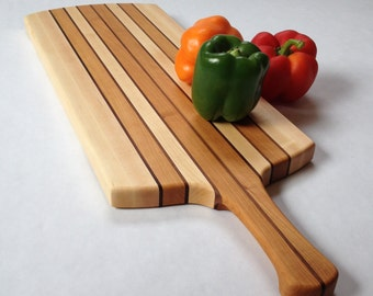 Wood Cutting Board with Handle, Mixed Wood, Serving Tray, Large Cutting Board, 160902