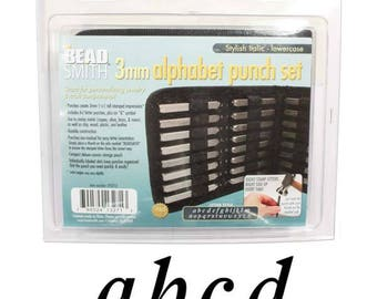 Best Letter Punch Set - 3mm Lower Case Stylish Italic - Stamping Disc Sample Included