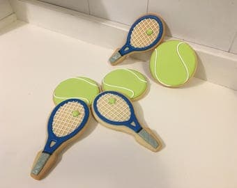 Tennis Racket and Ball cookies - 1 Dozen