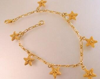 Star Charm Bracelet Gold Plated Vintage Jewelry Jewellry
