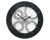 Gear Wall Clock III, large wall clock, unique wall clock, industrial clock, modern wall clock, steampunk wall clock, metal wall art