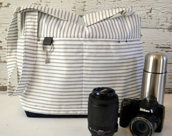 DSLR Camera bag in Grey and White Ticking Stripe, waterproof base -Lightweight and durable! by Darby Mack made in the USA