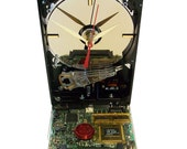 Hard Drive Clock with Rare Controller Circuit Board Highlighted with Red Laptop's Disk Spindle. FREE SHIPPING USA!
