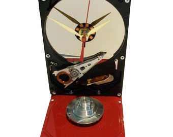 Hard Drive Clock with Gloss Red Painted Base & Shiny Disk Spindle Assembly. Got Holiday Gift?
