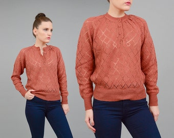Vintage 70s Brown Sweater Sheer Crochet Pointelle Weave 1970s Open Knit Boho Hippie Slouchy Top Small Medium S M