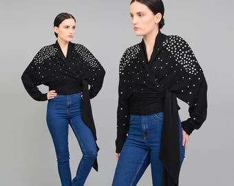 Vintage 80s Black Cotton Knit Top - Embellished Cardigan - 1980s Rhinestone Blouse Wrap Cardigan - Tie Waist Cropped Blouse - size S M