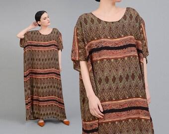 Vintage 90s Ethnic Maxi Dress | Bohemian Tribal Striped Dress | Oversize Dress | Plus Size Boho Hippie Dress | Brown Gray | L XL XXL
