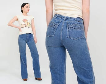 Nest Ce Pas? Vintage 70s Blue Jeans High Rise | Tight Skinny Jeans | Boot Cut Straight Leg Jeans | High Waisted Denim | Extra Small 25 26x33