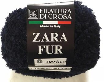 Filatura di Crosa Zara Fur Yarn #9 Midnight Blue Merino Superwash Short Eyelash - Machine Washable Bulky 50 gram