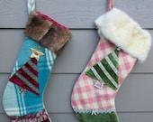 Two Christmas Stockings, Vintage Plaid Wool, Vintage Rhinestone Brooch, Genuine Fur