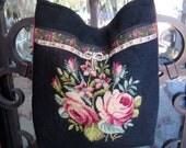 Vintage Needlepoint Roses - Rhinestone Brooch, Black, Pink Vintage Velvet, French Ribbon