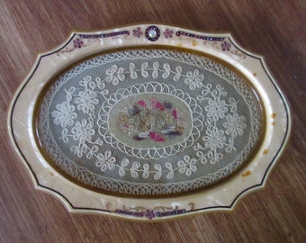 Art Deco Celluloid Lace Insert Vanity Tray Pink Rhinestones