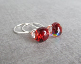 Dichroic Red Earrings, Small Red Dangle Earrings, Sterling Silver Earrings Fire Red Glass Earrings, Red Lampwork Earrings Silver Wire Dangle