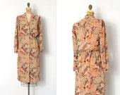 vintage 1970s dress / 70s bird print dress  / Chirp Chirp