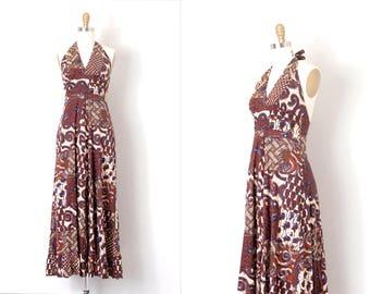 vintage 1970s dress / batik 70s halter maxi dress / cotton (extra small xs)