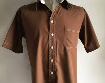 Vintage Men's 70's Brown, Shirt, Short Sleeve, Button Down by Envoy (XL)