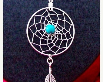 ON SALE DREAM In Turquoise Dream catcher pendant with 18 inch sterling silver chain