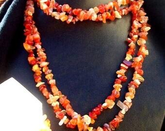 ON SALE SUN Stone, Carnelian necklace - long stone necklace - orange gemstone, crystal necklace, beaded necklace, zen necklace, zen jewelry,