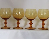 4 Vintage  Hollywood Regency Balloon Shape Wine Glasses Mid Century Modern Amber Yellow Gold