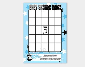 Blue Rock Star Guitar Baby Shower Bingo Game | Boy Baby Shower GamesINSTANT DOWNLOAD bs-056