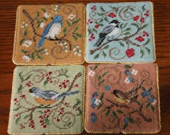 Vintage Embroidered Bird Coasters - blubird, chickadee, robin, sparrow