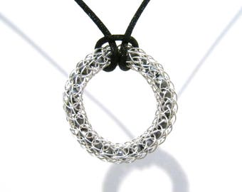 Viking Knit Circle Pendant with Dark Grey Freshwater Pearls - Silver Plated Copper - Black Cord Necklace - Infinity Circle, Woven Wire