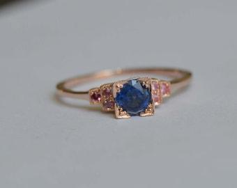 Rose Gold Ring, Edwardian Ring, Kyanite Ring, Mahenge Spinel Ring, Blue and Pink Gemstone Ring, Antique Style Ring, 14 K Gold Ring