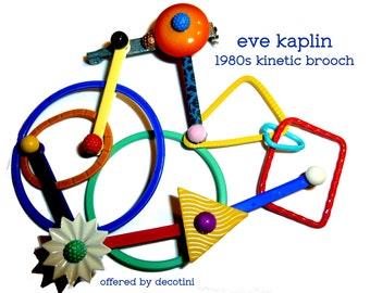Eve Kaplin Kinetic Memphis 1980s Pin Brooch. Colorful Wearable New Wave Art. Guaranteed Authentic. Bend It Shape It Wear It. Museum Artist.