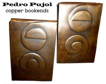 Vintage Pedro Pujol Handmade Copper Bookends. Modernist Greenwich Village Artist Circa 1940s. NYC.