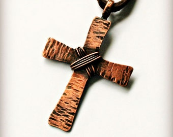 Copper Cross Necklace, Handcrafted Hammered Rustic Cross Pendant with Leather Cord, Gift for Him, Gift for Her, Religious, Christian