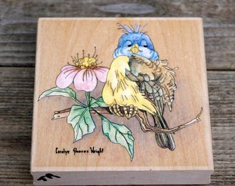 Wood Mounted Rubber Stamp,Blubird, Stamps Happen, Carolyn Wright