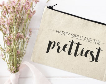 Canvas Makeup Bag - Make Up Pouch - Canvas pouch - Cosmetic pouch - Cosmetic Bag - Makeup Organizer - Happy Girls are the prettiest