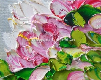 Pink painting, Impasto painting , Painting Original , art on Canvas , palette knife,